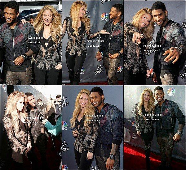 3 avril 2014 : Shakira & Usher arrivant sur le tapis rouge de The Voice à Los Angeles Shakira était vraiment magnifique ! J'adore sa veste, elle rayonne sur toutes ces photos en compagnie d'Usher !