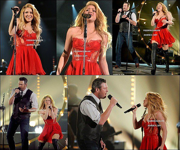 6 avril 2014 : Shakira et Blake Shelton chantant Medicine aux ACM Awards à Las Vegas S. était vraiment superbe dans sa robe rouge !! De plus j'adore ses cuissardes, un look de scène au TOP ! Vous aimez !?
