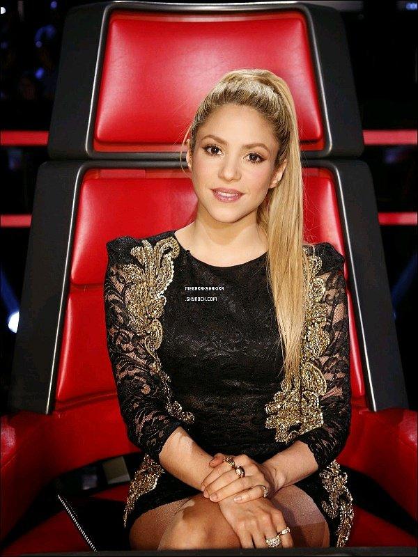 28 avril 2014 : Shakira sur le tapis rouge de The Voice