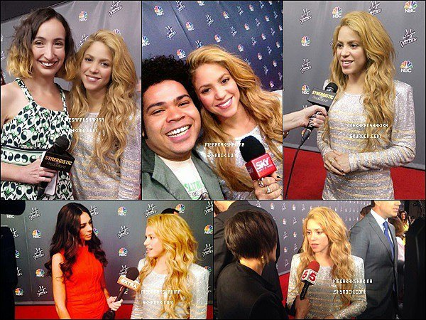 19 mai 2014 : Shakira se faisant interviewé sur le tapis rouge de The Voice