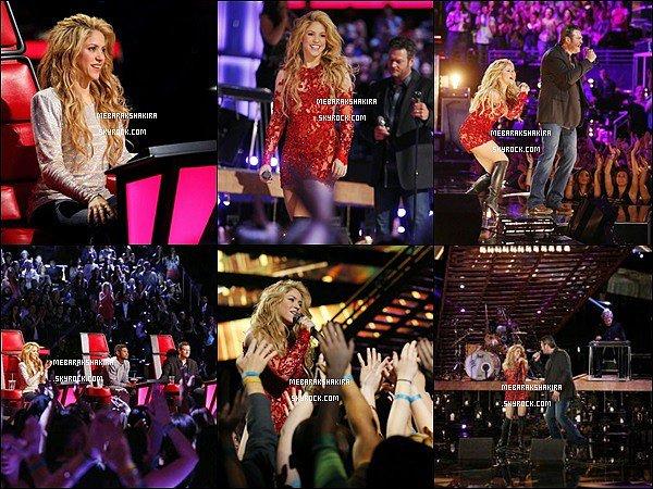 19 mai 2014 : Shakira se faisant interviewé sur le tapis rouge de The Voice