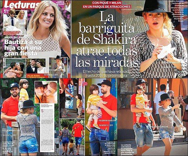 Mlle Mebarak est dans le magazine espagnol Lecturas de la semaine du 21 juillet 2014 ! Photos prises de la petite famille lors du 18 juillet dernier dans la belle ville de Barcelone où ils vivent