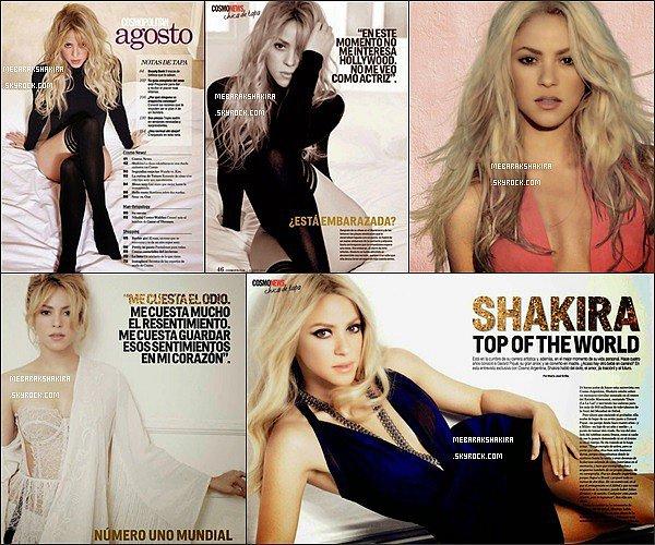 Shakira fait la couverture du mois d'août 2014 en Argentine du célèbre magazine Cosmopolitan