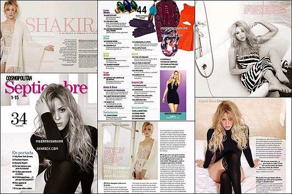 Shakira fait la couverture du magazine Cosmopolitan du mois de Septembre 2014 au Mexique La belle blonde y dévoile officiellement qu'elle est belle est bien enceinte de son deuxième enfant :)