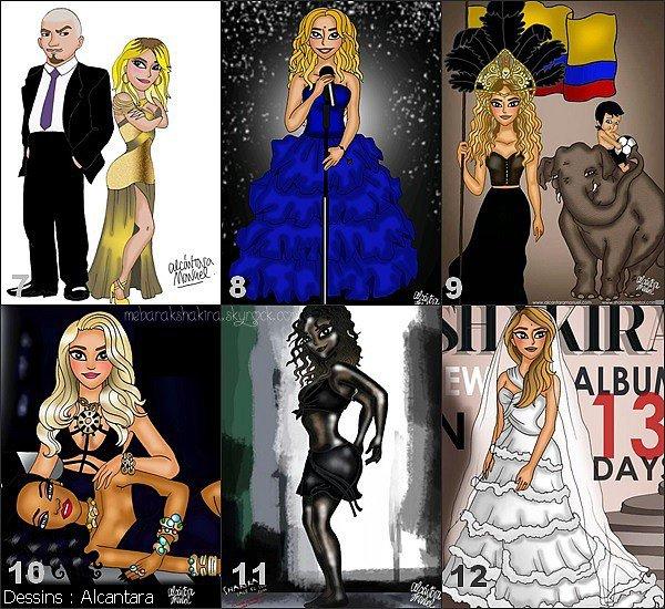 Découvrez les super dessins d'Alcantara, qui est un dessinateur & fan de Shakira. Il a réalisé de nombreux dessins de la belle.Retrouvez quelle tenue va avec quel clip de la belle Shakira