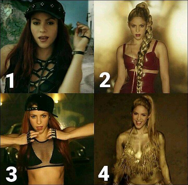 Quelle est la tenue de Shakira que vous préférez dans le clip de Perro Fiel ?