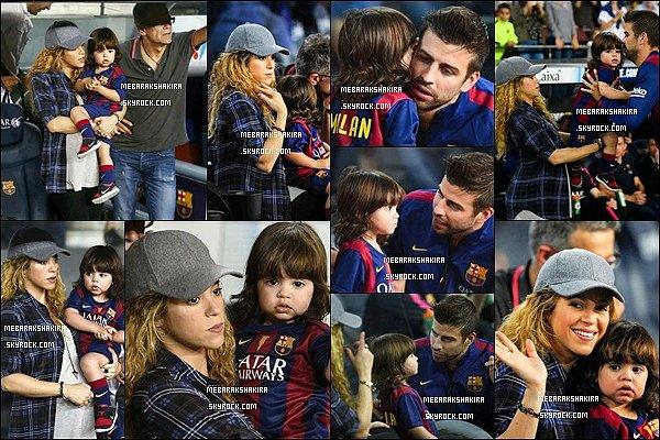 18 Octobre 2014 : Shakira & Milan étaient venu encouragé Gérard au stade du Camp Nou