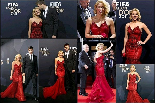 9 Janvier 2012 : Shakira et Gérard étaient à la cérémonie du Ballon d'Or à Zurich en Suisse Shakira était absolument ravissante avec sa robe rouge, j'aime beaucoup sa coiffure légèrement crantée, AU TOP !