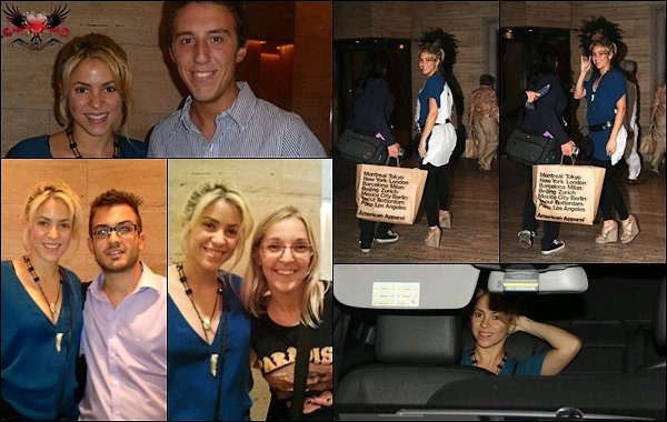 9 Septembre 2012 :Shakira a pris des photos avec des fans, puis a été vu rentrant à son hôtel à Milan Shakira est toute belle sur ces photos, j'aime assez son haut bleu et ses chaussures compensées, un TOP ! Vos avis ?