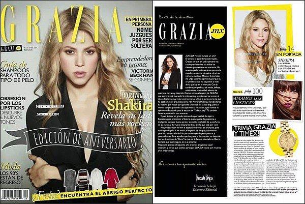 Shakira fait la couverture de l'édition d'anniversaire du magazine GRAZIA au Mexique
