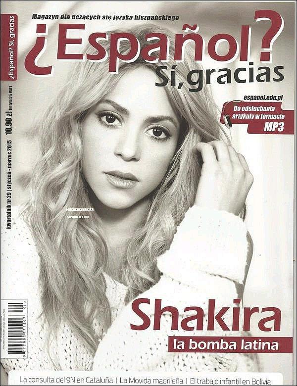 """Shakira fait la couverture de Janvier-Mars 2015 du magazine polonais """"Español? Si, gracias"""""""