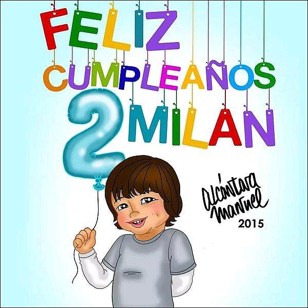 22 Janvier 2015 : le dessinateur et fan français de Shakira, Alcantara a fait un dessin pour les 2 ans de Milan