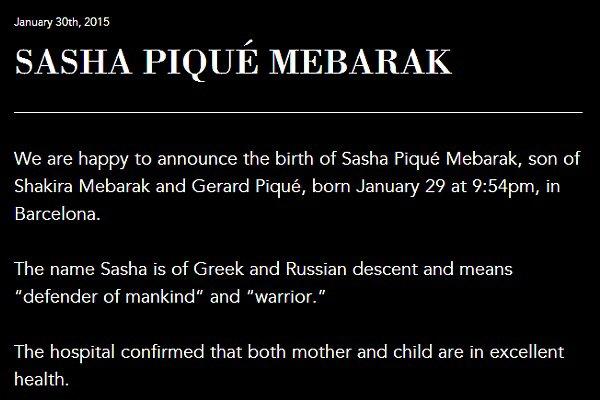 La belle Shakira a donné naissance à son second fils en ce 29 Janvier 2015 ! Félicitations et plein de bonheur à la petite famille qui s'est agrandie ! Bienvenu à Sacha Piqué Mebarak