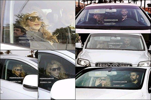 2 février 2015 : Shakira & Gerard sortant de la clinique Teknon à Barcelone