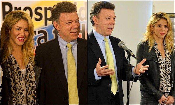 5 décembre 2011 : Shakira été à une conférence de presse avec le président colombien Juan Santos Shakira Mebarak - « Tout cela est fait pour les enfants. Nous devons être les exemples latino-américains de la façon dont s'occuper de la petite enfance et nous sommes dans l'obligation de donner le meilleur à nos enfants peu importe leur niveau. »
