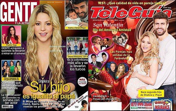 Février 2015, Shakira fait la couverture de deux magazines télé : Gente & TeleGuia