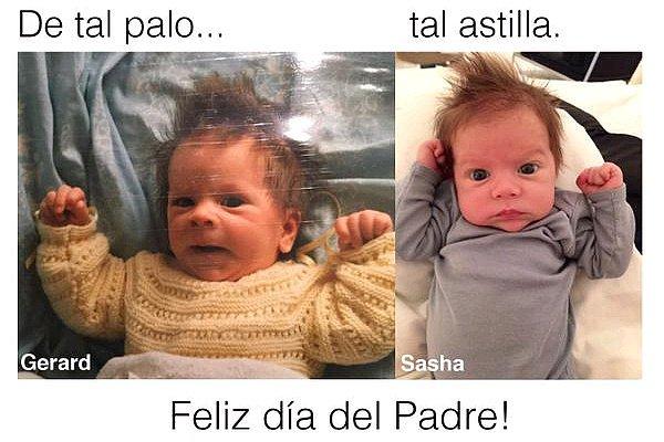 19 mars 2015 : Shakira a posté une photo de Gerard étant petit à côté d'un de son nouveau-né Sasha Il ressemble déjà beaucoup à son papa ! Les mêmes grands yeux bleu. Hâte de voir plus de photos de ce petit bout de chou !