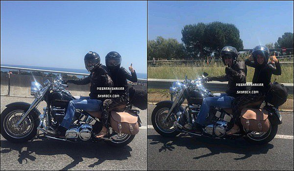 31 mai 2015 : Shakira a posté une photo d'elle sur Twitter faisant de la moto.Légende de la photo : Con mi suegrito !