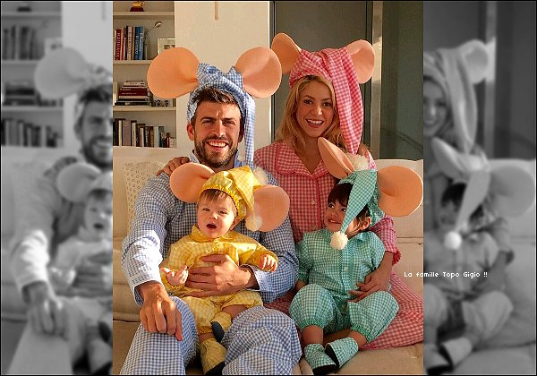 1er Novembre 2015 : Shakira a posté une photo sur Twitter de sa petite famille déguisé pour Halloween Pour information : Topo Gigio sont des petites marionnettes pour enfant dans un spectacle télévisé italien et espagnol des années 1960.