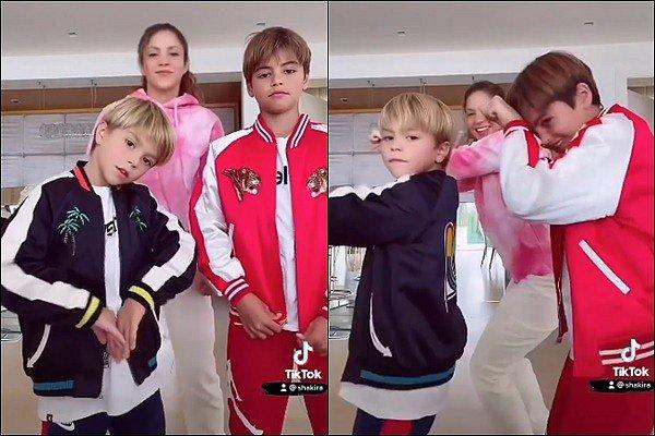 """31 août 2021 : Shakira a posté une nouvelle vidéo avec ses fils dansant sur """"In da ghetto"""" sur les réseaux sociaux Légende du post : """"In da ghetto avec mes nouveaux danseurs ! @JBalvin"""" - Ils sont adorables tous les trois, j'adore cette vidéo :)"""