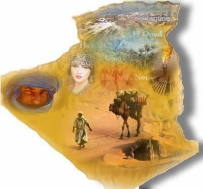 L'Al(l) L'ALGERIE ... (l)gérie est un pays d'Afrique du Nord appartenant au Maghreb. Sa capitale Alger est située à l'extrême nord du pays. Deuxième pays d'Afrique par sa superficie après le Soudan, l'Algérie est bordée au nord par la mer Méditerranée sur une distance de 1200 km. Dans sa partie sud, l'Algérie comprend une part notable du Sahara alors qu'au nord, l'Atlas tellien forme avec l'Atlas saharien, plus au sud, deux ensembles de relief parallèles se rapprochant en allant vers l'est, et entre lesquels s'intercalent de vastes plaines et hauts plateaux. Les deux Atlas tendent à se confondre dans l'est de l'Algérie (Aurès) et en Tunisie. La bande du Tell, large de 80 km à 190 km, s'étend sur près de 1200 km de côte méditerranéenne. Elle est formée de chaînes de montagnes longeant le littoral et souvent séparées par des vallées, riches par leur flore et leur faune, abritant des cours d'eau comme la vallée du Chelif ou la vallée de la Soummam. Le mont Lalla-Khadîdja, en Kabylie où les montagnes sont recouvertes de neige en hiver, en est le point culminant et s'élève à 2308 mètres d'altitude. Les plaines du Tell abritent avec les vallées adjacentes la grande majorité des terres fertiles du pays. Montagnes de KabylieEntre les massifs de Tell et l'Atlas saharien, un grand ensemble de plaines et de hauts plateaux semi-arides sont creusés par de nombreuses étendues d'eau salée, les chotts, asséchées en fonction des saisons. Le point le plus bas d'Algérie, atteint au Chott Melrhir, descend à –40 m. L'ensemble court depuis les frontières marocaines à l'Ouest jusque dans la vallée du Hodna dont les monts relient parfois les Atlas tellien et saharien. L'Atlas saharien, relie le Haut Atlas marocain jusqu'à la frontière tunisienne en passant, d'Ouest en Est, par les massifs du Ksour, Djebel Amour, des Ouled-Naïl, des Zibans et les monts Hodna, qui rejoint la bande du Tell, et continue dans les Aurès culminant à plus de 2 300 m. Il est limité au sud par plusieurs oasis consti