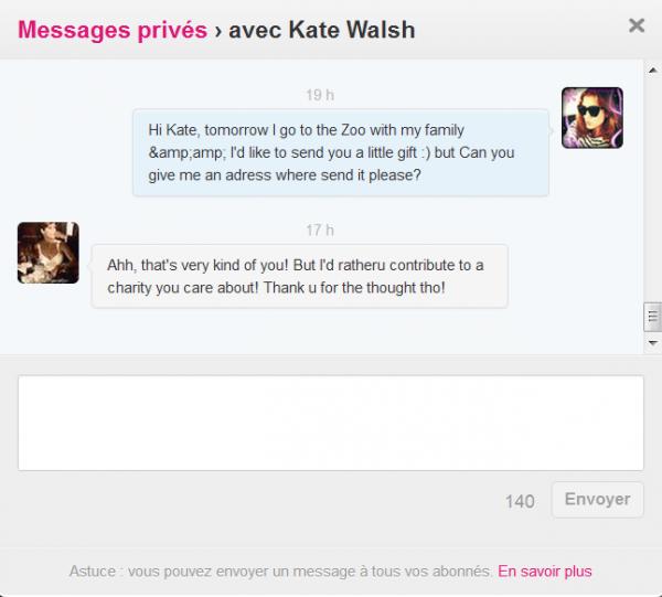 Ahh mais qu'est ce qu'elle est gentille ma petit Kate :) non vraiment elle est très gentille :) ♥ comme je dit, cette femme est en or ♥