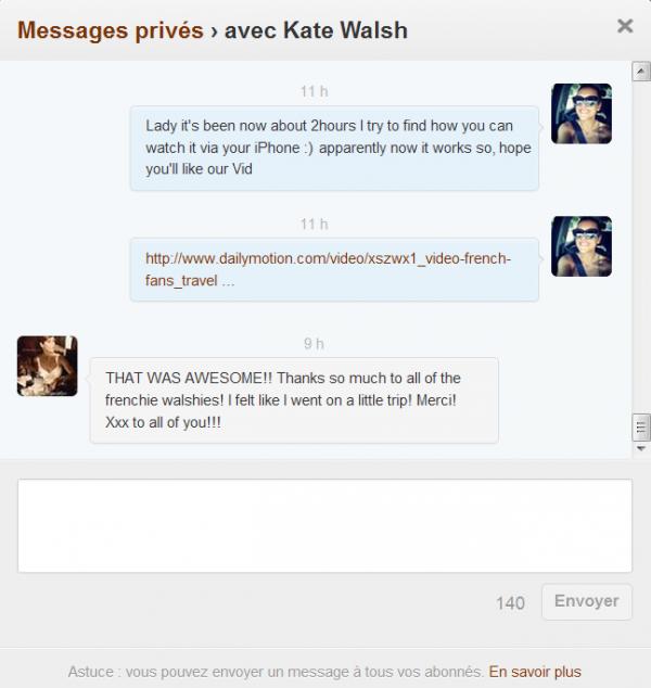 Hihi Ce petit enfin très long DM de Kate m'a juste fait trop plaisir ♥ je suis contente d'avoir eu cette idée & surtout contente qu'il y est des walshies plus que merveilleuse pour y participer :D ♥ Merci les filles ♥