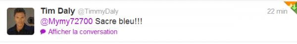 Woohoo mon premier tweet de Timmy Daly ♥