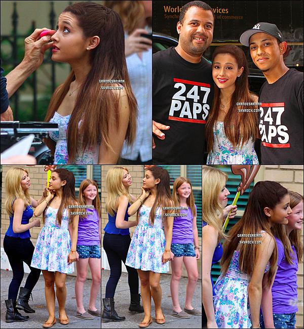 ..  02/07/13 Ariana filmait une publicité avec Jennette McCurdy pour la marque Nesquick à NYC.