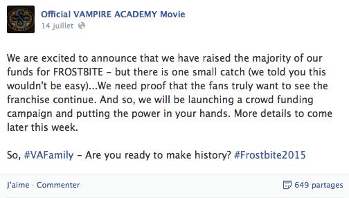 Vampire Academy ~ Avancement de Frostbite