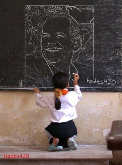 Garou dessiner au tableau