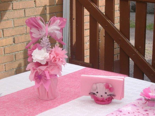 Décoration de table pour un anniversaire sur le thème hello kitty