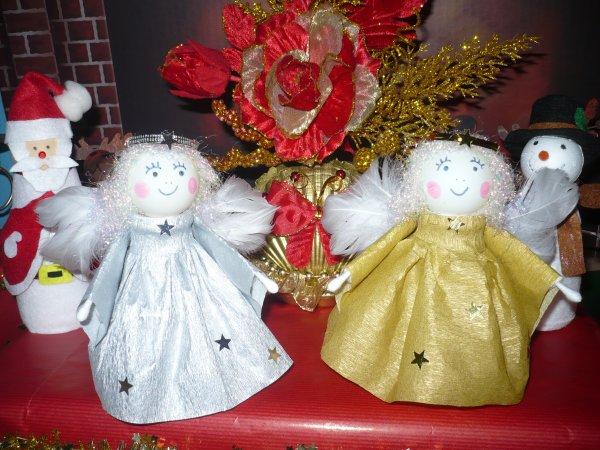 petits anges en papier crépon or et argent