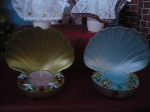 bougeoirs coquilles couleurs or et argent