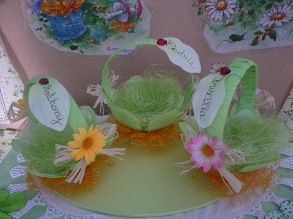 Des petits paniers marque- places pour Pâques .