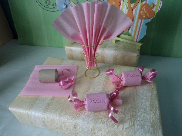 Théme pour un baptême rose bonbons .