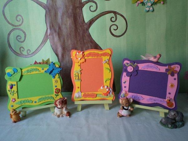 Des cadres décorés pour la fête des Mamans .