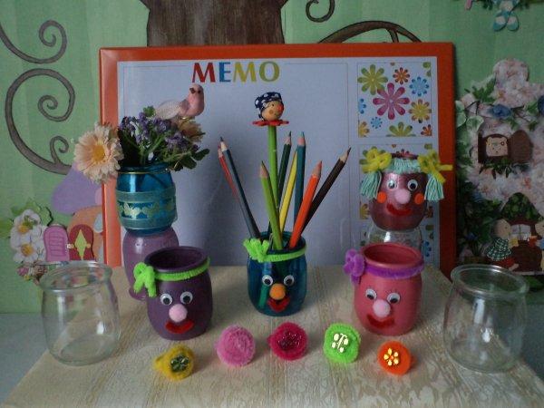 Des pots à crayons rigolos et des bagues !!!