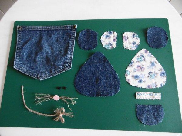 Une autre souricette et 2 pochettes avec les poches d'un jean