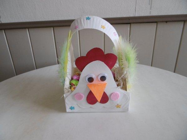 Panier poule et Lapin avec des assiettes en carton .1er article la poule