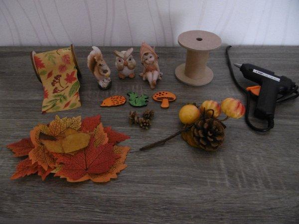 Création d'automne sur bobine en bois .