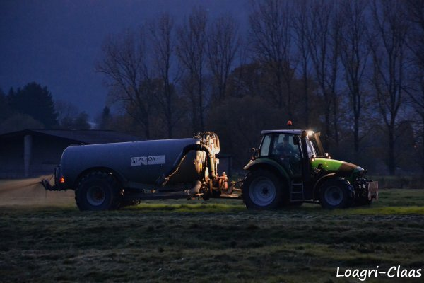 Epandage de Lisier de Nuit 2012 --> --> Deutz-Fahr AGrotron M600