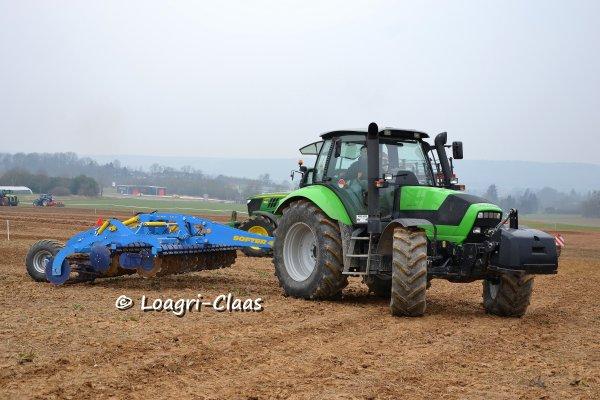 Démonstration de travail du sol / semis --> --> John Deere 6170R & Deutz-Fahr M620