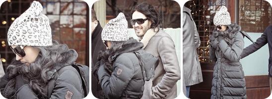 """14/12/10; Katy & son mari sortant du """" Greenwich Hotel """" à New-York."""