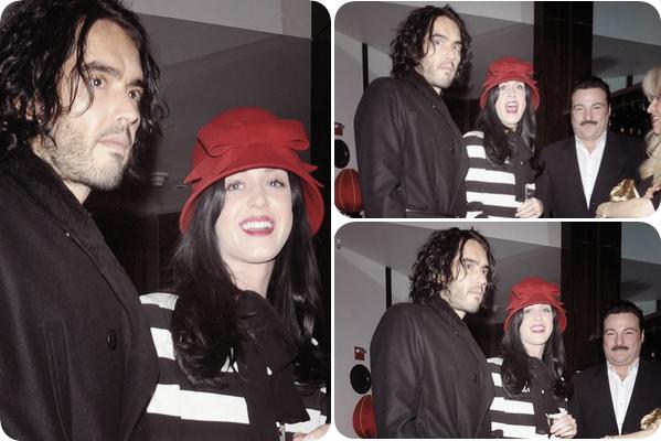 24/12/10; Katy & Russel sortant d'une salle de spectacles à N-Y.C'est quoi ce chapeau Katy ? xD