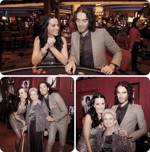 """12/01/11; Katy & Russel étaient au casino """" Planet Hollywood Resort """" à Las-Vegas pour fêter les 90 ans de la grand-mère de Katy."""