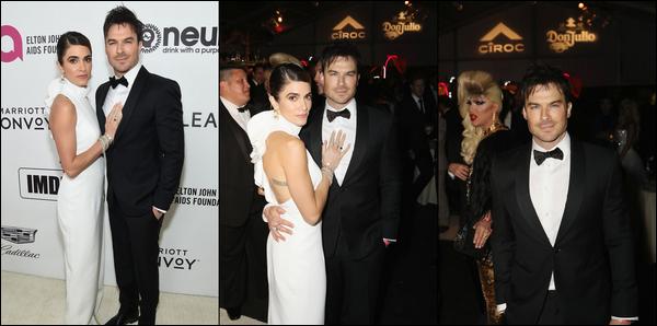 24.02.2019 :Ian était avec sa femme au « Elton John AIDS Foundation Academy Awards » à Los Angeles  Notre couple était très élégant , Nikki Reed était dans une magnifique robe blanche et Ian dans un magnifique costume - C'est un top !