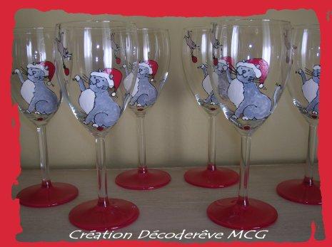 6 verres motif chat cadeau pour bapteme parrain marraine - Peindre des verres a pied ...