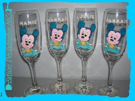 Serie de coupe a champagne special bapteme cadeau pour bapteme parrain marraine - Decoration mickey pour bapteme ...