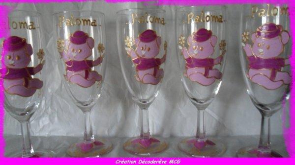 Série de coupes à champagne spécial baptême